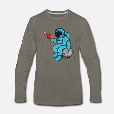 Pluto Funny Astronaut Read Book In Space Gift Science - Men's Premium Longsleeve Shirt
