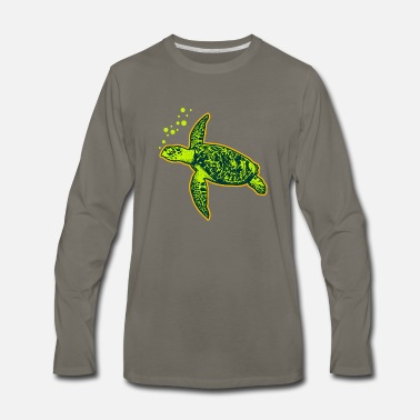 Sea Cute Turtle Is Swimming Diving Sea Turtle Gift - Men's Premium Longsleeve Shirt