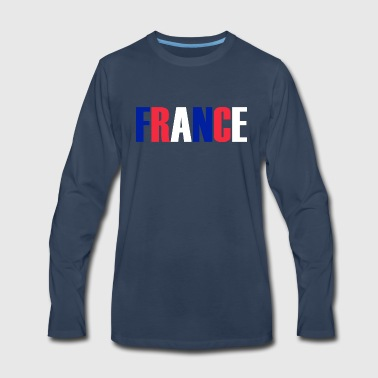 Word FRANCE in tricolor color flag of the country - Men's Premium Long Sleeve T-Shirt