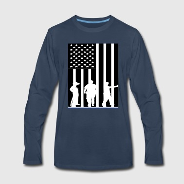 LAW ENFORCEMENT TRIO FLAG SHIRT - Men's Premium Long Sleeve T-Shirt