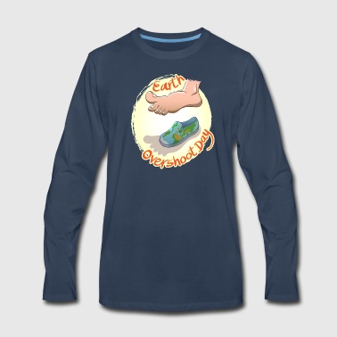 Oversized Footprint Earth Overshoot Day - Men's Premium Long Sleeve T-Shirt