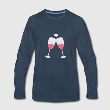 champagne glasses with heart - Men's Premium Long Sleeve T-Shirt