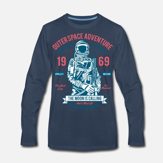 Moon Landing Long-Sleeve Shirts - Outerspace Adventure - Men's Premium Longsleeve Shirt navy