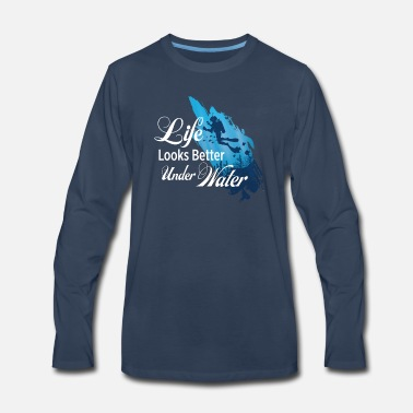 Scuba Under Water Scuba Diver Designs - Men's Premium Long Sleeve T-Shirt
