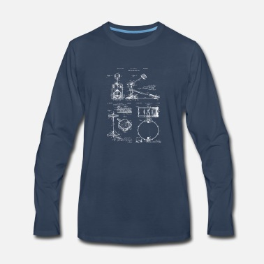 Drummer Drummer Gift Drum Set Vintage Patent Prints - Men's Premium Long Sleeve T-Shirt