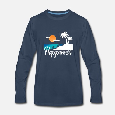Palm Trees Happiness Beach Palm-trees palm gift - Men's Premium Longsleeve Shirt