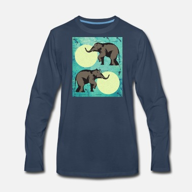 Retro Retro Elephant - Men's Premium Long Sleeve T-Shirt