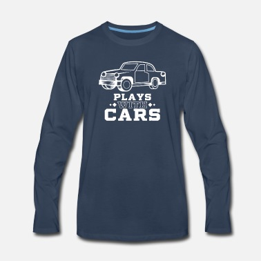 Son Plays with cars - Dad & Son Funny Matching - Men's Premium Long Sleeve T-Shirt