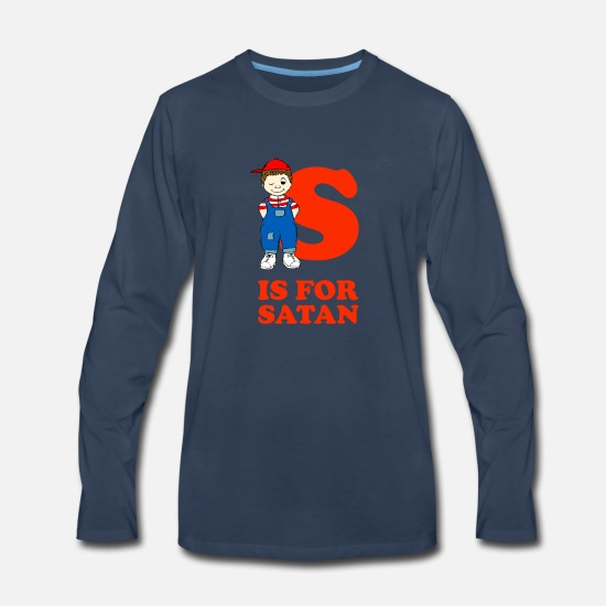 Funny Long-Sleeve Shirts - S Is For Satan | Satanic Occult 666 - Men's Premium Longsleeve Shirt navy