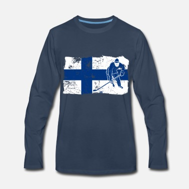 Baltic Sea Finland Suomi Ice Hockey Player Flag Gift Idea - Men's Premium Long Sleeve T-Shirt