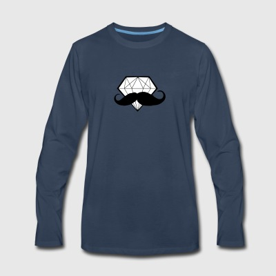 Diamond with Moustache - Hipster - Swag - Men's Premium Long Sleeve T-Shirt