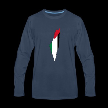 Flag map of Palestine Palestinian - Men's Premium Long Sleeve T-Shirt