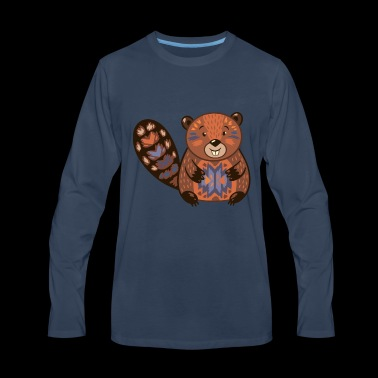 Beaver funny cartoon animal vector illustration - Men's Premium Long Sleeve T-Shirt