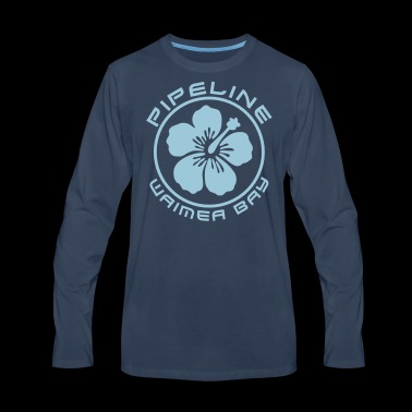 Pipeline at Waimea Bay-North Shore of Oahu, Hawaii - Men's Premium Long Sleeve T-Shirt