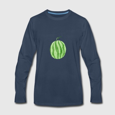 watercolor cute whole watermelon - Men's Premium Long Sleeve T-Shirt