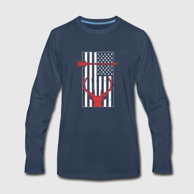 United States Flag & Beer Bow Hunting - Men's Premium Long Sleeve T-Shirt