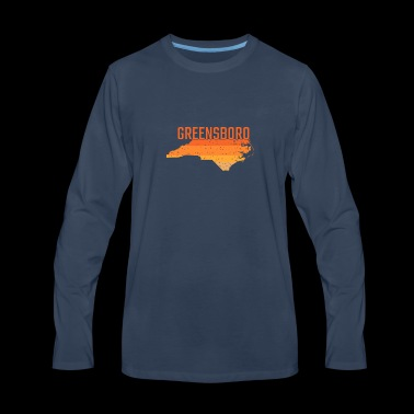 Greensboro North Carolina State Map Gift - Men's Premium Long Sleeve T-Shirt