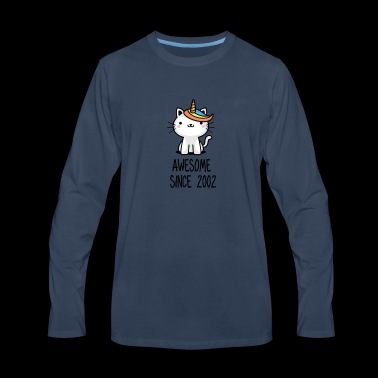 Caticorn Awesome Since 2002 16th birthday gift - Men's Premium Long Sleeve T-Shirt
