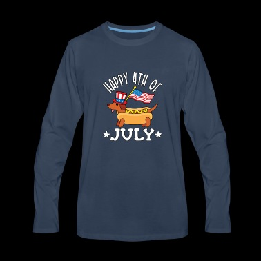 Patriotic Dachshund Hot Dog Americana 4th of July - Men's Premium Long Sleeve T-Shirt
