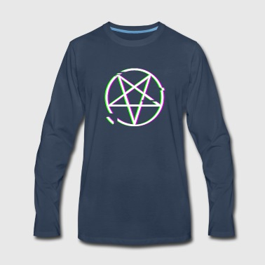 Retro Glitch Satanic Occult Pentagram - Men's Premium Long Sleeve T-Shirt