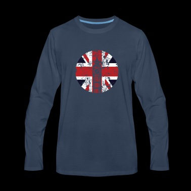 Union Jack Big Ben Westminster Palace Distressed - Men's Premium Long Sleeve T-Shirt