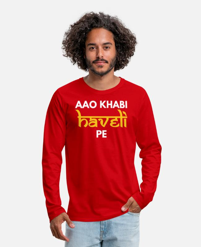 Hindi Meme Long-Sleeved Shirts - Aao Kabhi Haveli Pe Hindi Slogan - Men's Premium Longsleeve Shirt red