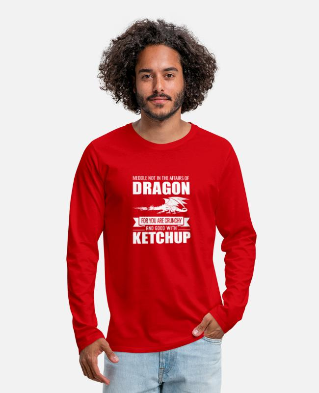 Crunchy Long-Sleeved Shirts - Funny Meddle Not In The Affairs Of Dragons - Men's Premium Longsleeve Shirt red