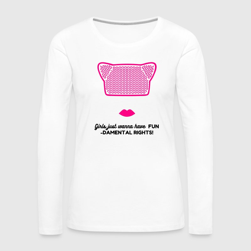 Pink Pussy Cat Hat / Beanie - Women's Premium Long Sleeve T-Shirt