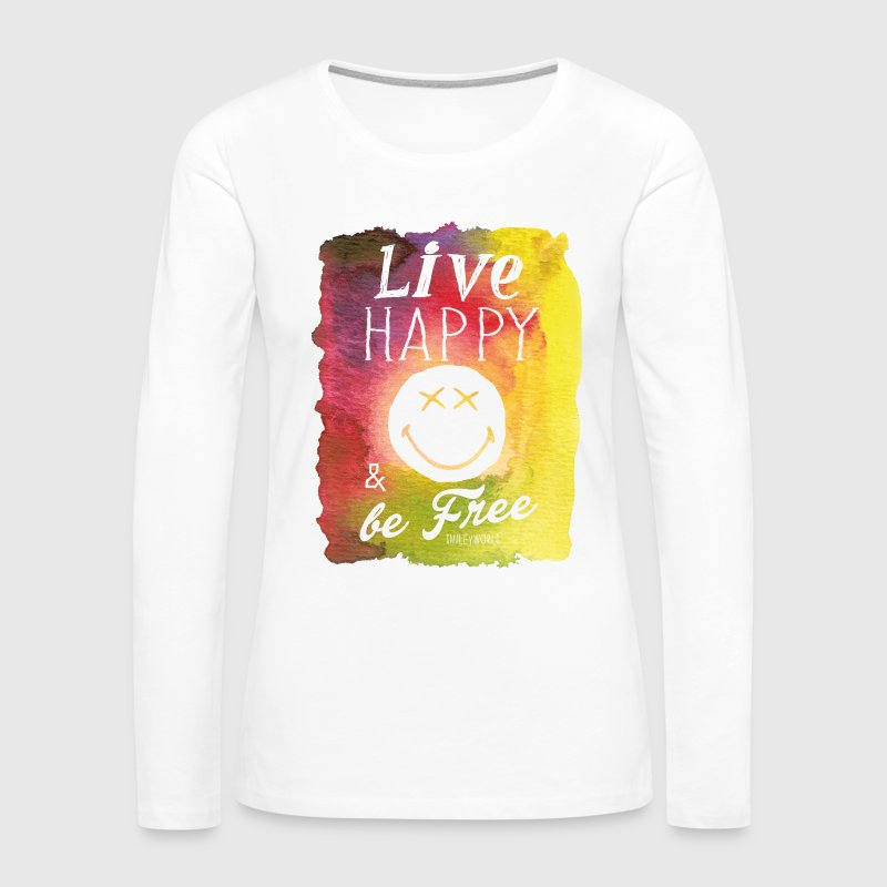 SmileyWorld Live Happy And Be Free - Women's Premium Long Sleeve T-Shirt