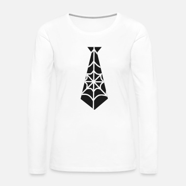 Bow Tie Funny Spider Tie Shirt Spooky Halloween Tee Gift - Women's Premium Long Sleeve T-Shirt