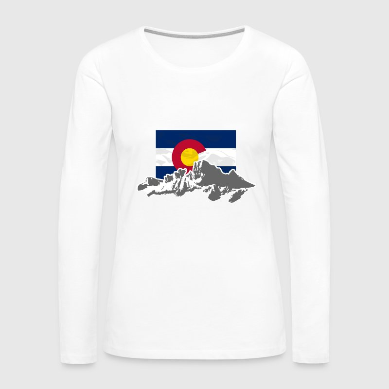 Colorado - Flag & Mountains - Women's Premium Long Sleeve T-Shirt