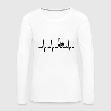 Couple Love wein heartbeat - Women's Premium Long Sleeve T-Shirt