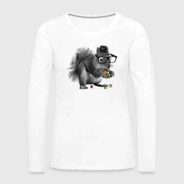 Rubiks Cube Rubik's Cube Hipster Squirrel - Women's Premium Long Sleeve T-Shirt