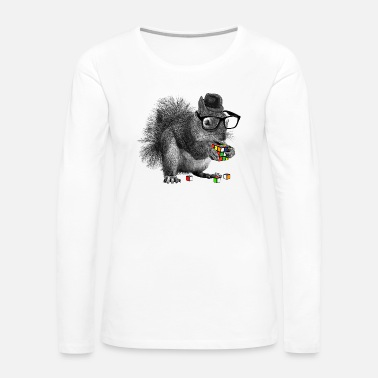 Cube Rubik's Cube Hipster Squirrel - Women's Premium Long Sleeve T-Shirt