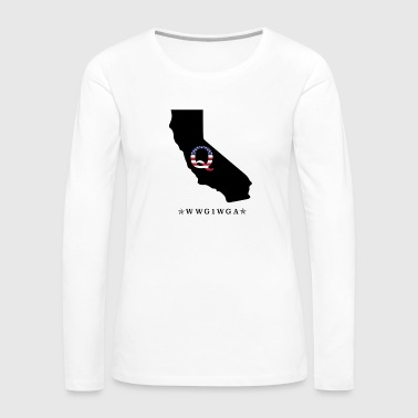 QAnon Q Pro Trump WWG1WGA USA Flag Deep State California black - Women's Premium Long Sleeve T-Shirt