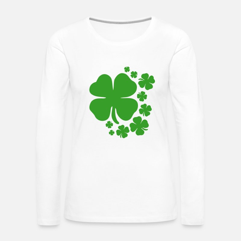 England Long sleeve shirts - clover st patrick's day lucky charm irish - Women's Premium Longsleeve Shirt white