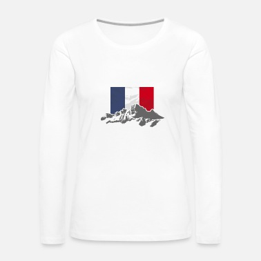 France France - Flag & Mountains - Women's Premium Long Sleeve T-Shirt