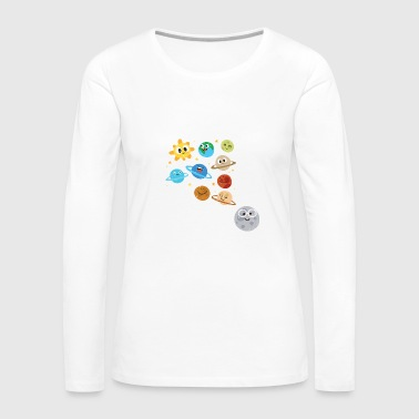 Moon Funny Solar System - Planets Moon Sun - Humor - Women's Premium Long Sleeve T-Shirt