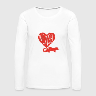 Funny Weasel - Heart Love - Furry Animal Humor - Women's Premium Long Sleeve T-Shirt