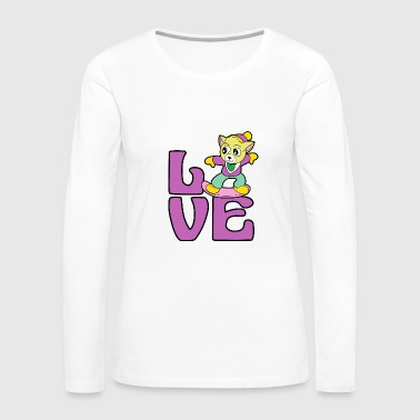 Cat Kitten Snowboarding Snowboarder Winter Sports - Women's Premium Long Sleeve T-Shirt