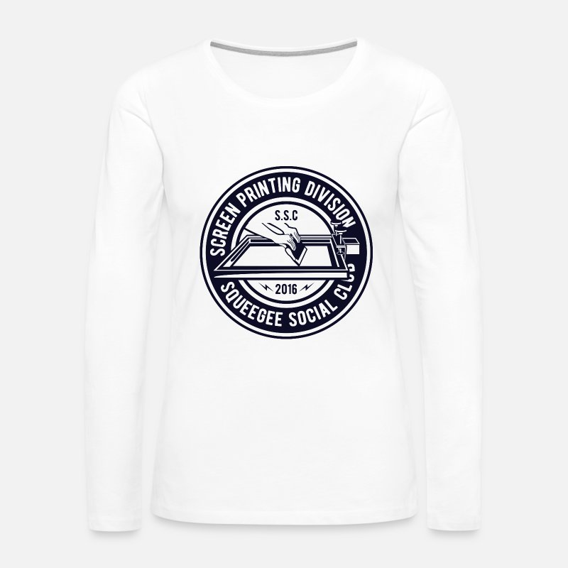 Club Long sleeve shirts - Screen Printing Division - Squeegee Social Clubs - Women's Premium Longsleeve Shirt white