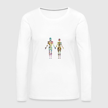 Female and male muscular System - Women's Premium Long Sleeve T-Shirt