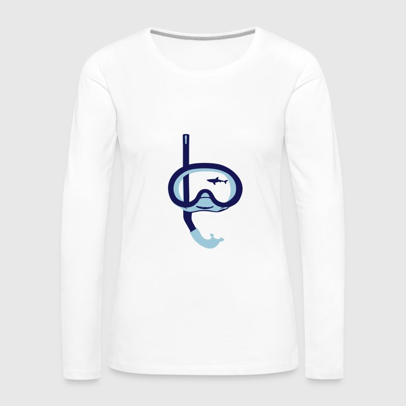 Snorkeling, diving, snorkeling mask and shark - Women's Premium Long Sleeve T-Shirt