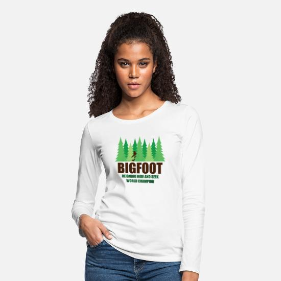 Bigfoot Long-Sleeve Shirts - Bigfoot Sasquatch Hide and Seek World Champion - Women's Premium Longsleeve Shirt white