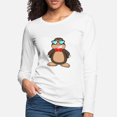Claw Mole with Tie & Sunglasses - Women's Premium Longsleeve Shirt