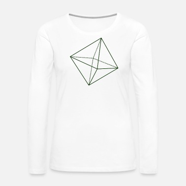 Octahedron Octahedron Geometry Present Art Design Green - Women's Premium Long Sleeve T-Shirt