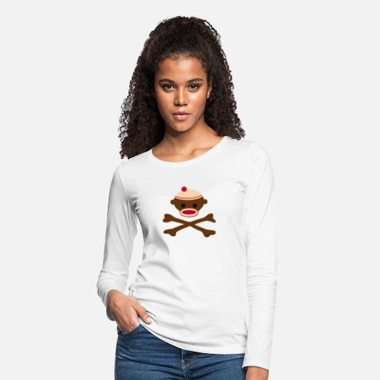 Pirate Long-Sleeve Shirts - Sock Monkey Pirate Flag - Women's Premium Longsleeve Shirt white
