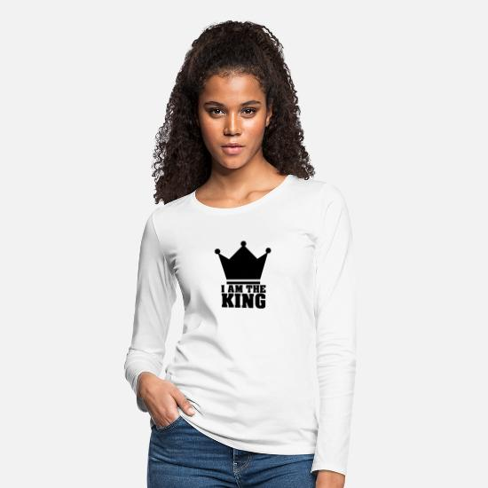 King Queen Long-Sleeve Shirts - Ich bin der König - Women's Premium Longsleeve Shirt white
