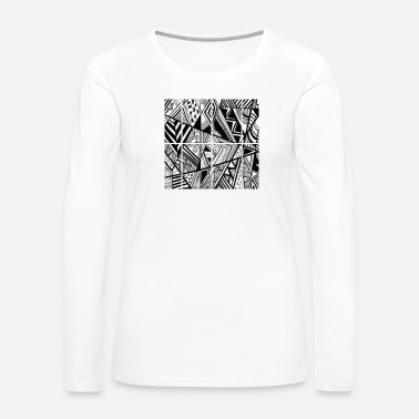 Black Sheep TRIPPY ART RETRO BLACK AND WHITE - Women's Premium Long Sleeve T-Shirt