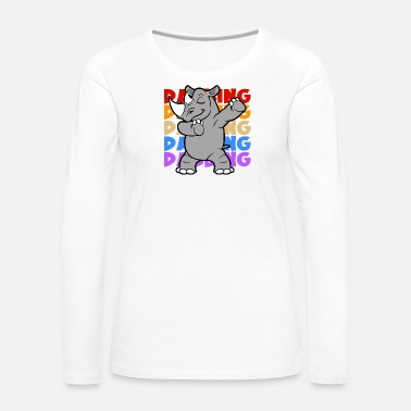 Circus Retro Vintage Pop Art Style Dabbing Dab Rhinoceros - Women's Premium Long Sleeve T-Shirt